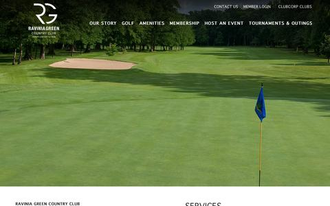 Screenshot of Services Page clubcorp.com - Services | Golf | Ravinia Green Club | Riverwoods IL - captured Oct. 20, 2018