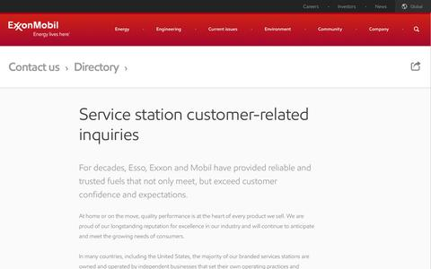Screenshot of Support Page exxonmobil.com - Service station customer contacts | ExxonMobil - captured Sept. 22, 2014