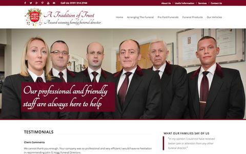 Screenshot of Testimonials Page johnghogg.co.uk - Testimonials - John G Hogg Funeral Directors - captured Sept. 30, 2014