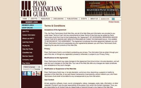 Screenshot of Terms Page ptg.org - false - captured June 22, 2017