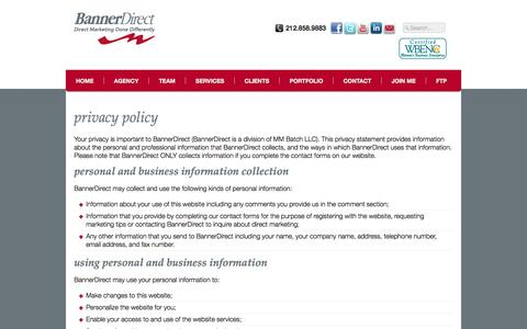 Screenshot of Privacy Page bannerdirect.com - BannerDirect | Privacy Policy - captured Sept. 30, 2014