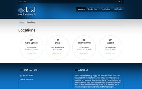 Screenshot of Locations Page adazl.com - Salon Professional | Beauty Salon Coral Springs - captured Oct. 4, 2014