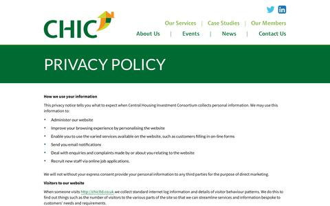 Screenshot of Privacy Page chicltd.co.uk - Privacy Policy - CHIC - captured Sept. 27, 2018