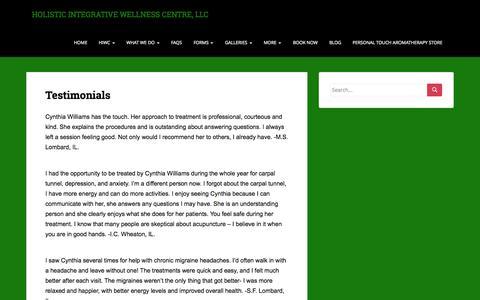 Screenshot of Testimonials Page holisticintegrativewellness.com - Testimonials | HOLISTIC INTEGRATIVE WELLNESS CENTRE, LLC - captured Oct. 8, 2014