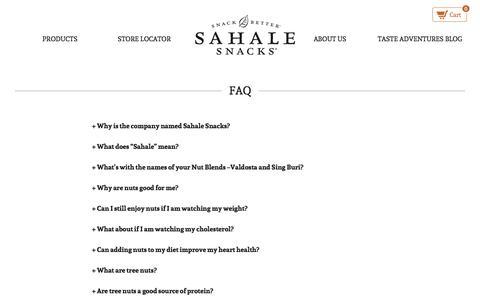 Screenshot of FAQ Page sahalesnacks.com - FAQ - Sahale Snacks - captured Sept. 17, 2014