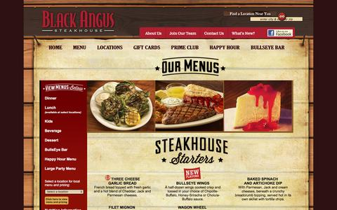 Screenshot of Menu Page blackangus.com - Black Angus Steakhouse, Restaurant - captured Jan. 14, 2016