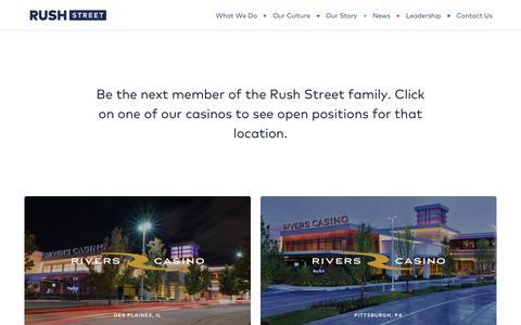 Screenshot of Jobs Page rushstreetgaming.com - Careers | Rush Street - captured Sept. 21, 2018