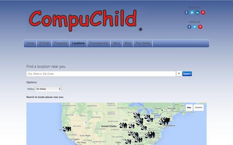 Screenshot of Locations Page compuchild.com - Locations - captured July 15, 2016