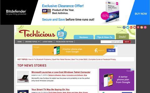 Screenshot of Blog techlicious.com - Blog - Techlicious - captured July 13, 2018