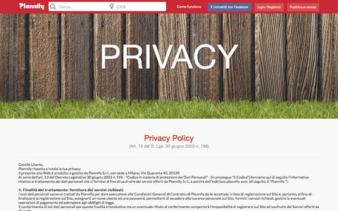 Screenshot of Privacy Page plannify.com - Plannify - captured Sept. 25, 2014