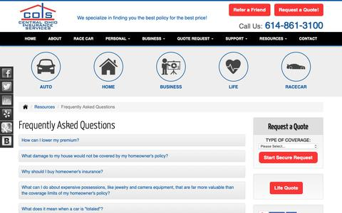 Screenshot of FAQ Page coiservices.com - Frequently Asked Questions - Pickerington, Ohio - Central Ohio Insurance Services - captured Sept. 27, 2018