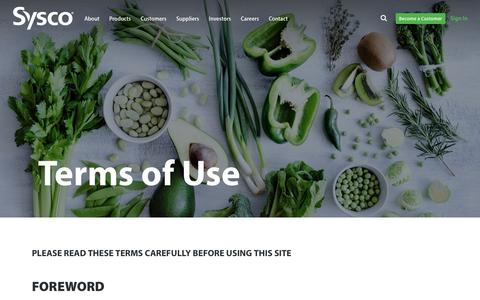 Screenshot of Terms Page sysco.com - Terms of Use - captured Feb. 7, 2018