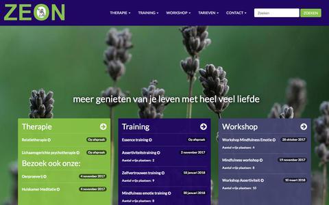 Screenshot of Home Page praktijkzeon.nl - ZEON - Therapie en trainingen - captured Oct. 19, 2017