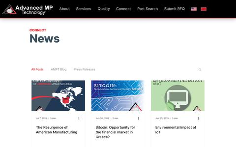 Screenshot of Press Page advancedmp.com - News | Advanced MP Technology - captured Feb. 14, 2019