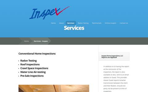 Screenshot of Services Page inspexhomeinspections.com - Services - Inspex - captured Sept. 30, 2014
