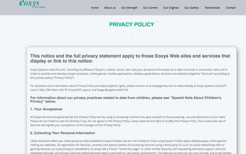 Screenshot of Privacy Page eoxysgames.com - Eoxys |Privacy Service - captured April 15, 2016