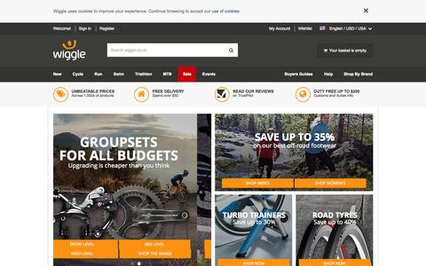 Screenshot of Home Page wiggle.co.uk - Wiggle | Cycle | Run | Swim | Tri-Sports & Bike Shop - captured Oct. 1, 2015