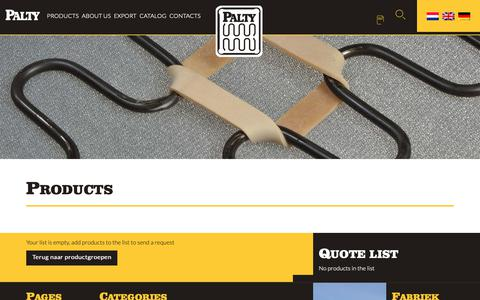 Screenshot of Products Page palty.com - Products - Fabriek van Palty producten b.v. - captured Sept. 26, 2018