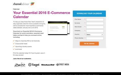 Screenshot of Landing Page channeladvisor.com - Your Essential 2016 E-Commerce Calendar - captured March 23, 2016