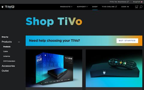Screenshot of Products Page tivo.com - Shop TiVo Products | Buy TiVo BOLT, Roamio, Mini and more. - captured Oct. 2, 2019