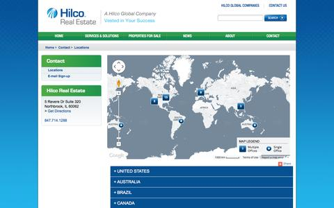 Screenshot of Locations Page hilcorealestate.com - Locations - captured Oct. 22, 2014