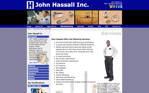 Screenshot of Services Page hassall.com - John Hassall Inc. - Services - captured Oct. 4, 2014