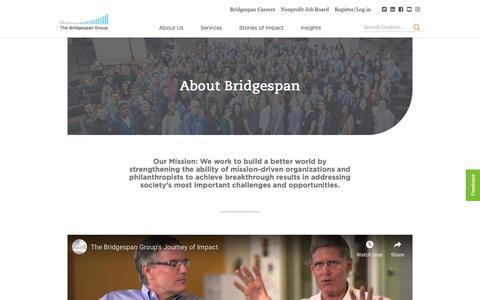 Screenshot of About Page bridgespan.org - About Bridgespan | Bridgespan - captured Dec. 14, 2018
