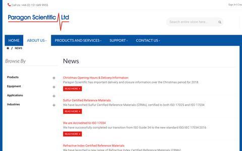 Screenshot of Press Page paragon-sci.com - News - captured Dec. 14, 2018