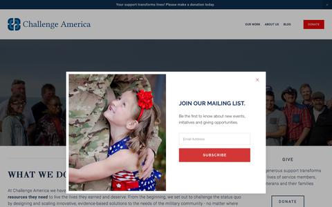 Screenshot of About Page challengeamerica.com - About Challenge America — Challenge America - captured July 17, 2018