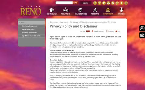 Screenshot of Privacy Page reno.gov - City of Reno : Privacy Policy and Disclaimer - captured Jan. 25, 2016