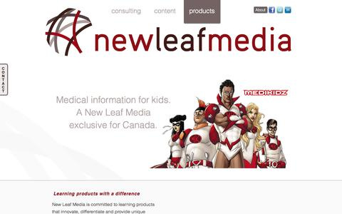 Screenshot of Products Page newleafmedia.ca - products | New Leaf Media - captured Oct. 7, 2014