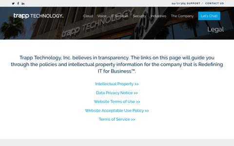 Screenshot of Terms Page trapptechnology.com - Legal - Trapp Technology - captured June 8, 2019