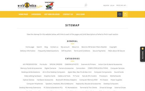 Screenshot of Site Map Page webantics.co.za - WebAntics.com - Computers and and Consumer Electronics. Sitemap - captured Dec. 12, 2016