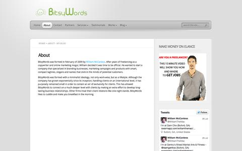 Screenshot of About Page bitsywords.com - About - My Blog | My Blog - captured Sept. 30, 2014
