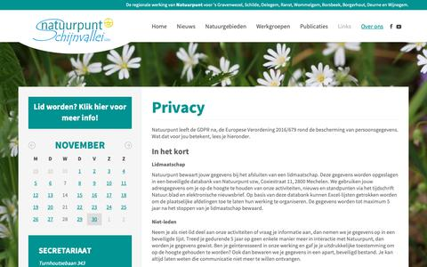 Screenshot of Privacy Page schijnvallei.be - Schijnvallei - Privacy - captured Nov. 30, 2018