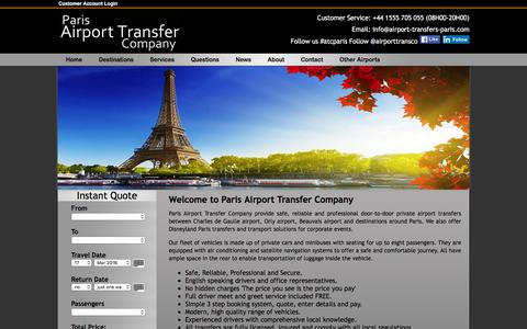 Screenshot of Home Page airport-transfers-paris.com - Paris Airport Transfer Company, Airport Transfers to Destinations in Paris from Charles de Gaulle, Orly & Beauvais Airports - captured March 14, 2016