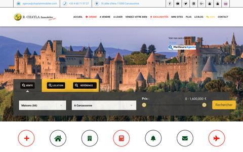 Screenshot of Home Page chaylaimmobilier.com - Agence immobiliere Carcassonne | Achat, Vente, Location, Gestion | R. CHAYLA Immobilier - captured Oct. 18, 2018