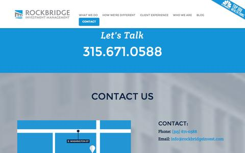 Screenshot of Contact Page rockbridgeinvest.com - Getting Started with Fee Only Investment Advisors & Planners | Syracuse NY | Rockbridge Investment Management - captured Oct. 6, 2014