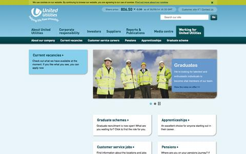 Screenshot of Jobs Page unitedutilities.com - Working for United Utilities |  United Utilities - captured Sept. 25, 2014