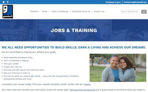 Screenshot of Jobs Page goodwill.org - Jobs & Training - Goodwill Industries International - captured June 13, 2019