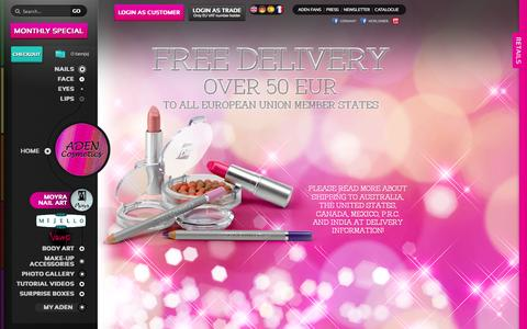 Screenshot of Home Page adencosmetics.com - ADEN Cosmetics - captured Sept. 30, 2014
