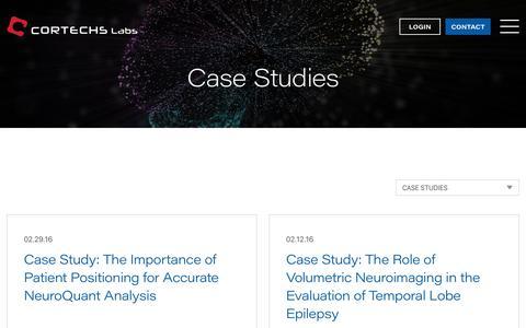 Screenshot of Case Studies Page cortechslabs.com - Case Studies Archives - CorTechs Labs - captured Feb. 10, 2020