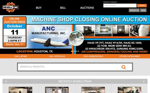 Screenshot of Home Page resellcnc.com - Resell CNC -  Used CNC Machines & Used Mazak Lathes - captured Sept. 21, 2018