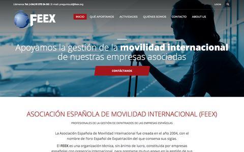 Screenshot of Home Page feex.org - Asociación Española de Movilidad Internacional (FEEX) - Gestión de Expatriados de Empresas Españolas - captured Oct. 14, 2017