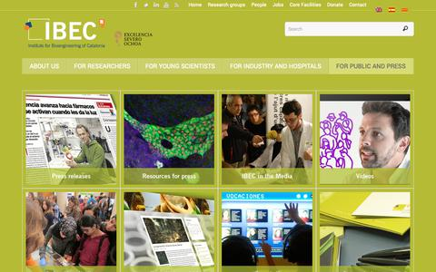 Screenshot of Press Page ibecbarcelona.eu - For public and press – Institute for Bioengineering of Catalonia (IBEC) - captured Oct. 12, 2018