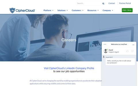 Screenshot of Jobs Page ciphercloud.com - Careers - CASB Vendors | Cloud Security Companies | CipherCloud - captured July 17, 2019