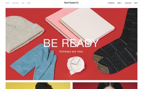 Screenshot of Home Page needsupply.com - Need Supply Co. - captured Nov. 19, 2016