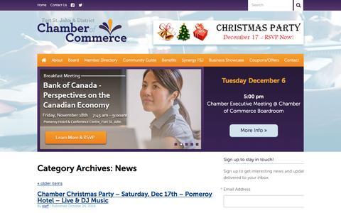 Screenshot of Press Page fsjchamber.com - News  –  Fort St John & District Chamber of Commerce - captured Nov. 25, 2016