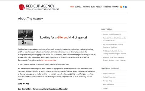 Screenshot of About Page redcupagency.com - Podcast Production | Content Development | ebooks and articles - captured June 16, 2017