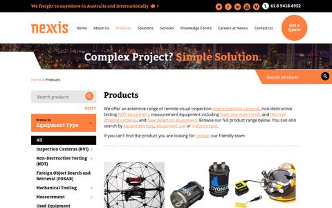 Screenshot of Products Page nexxis.com.au - Laser Shaft Alignment | Eddy Current Testing | Nexxis - captured July 17, 2017